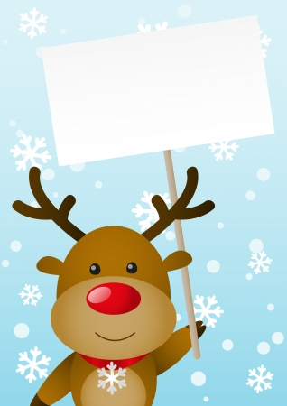 Cute deer with empty banner Vector