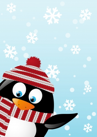 Christmas card with cute penguin Vector