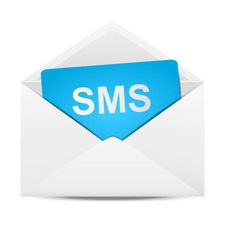 Une enveloppe de papier avec un message sms Illustration