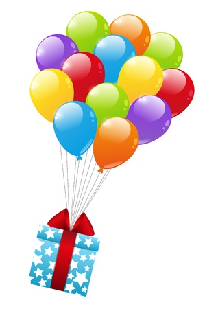 Gift box with color balloon Stock Vector - 16686237