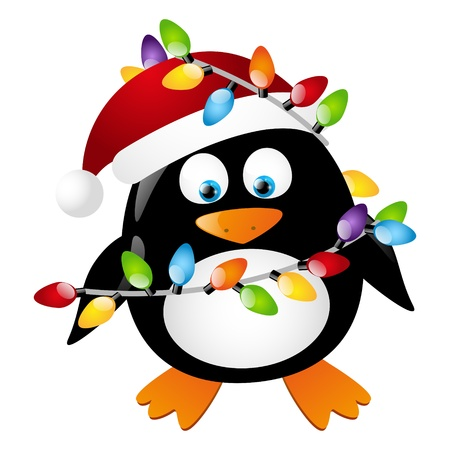 cartoon penguin: Penguin with Christmas light bulbs