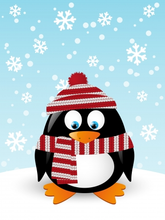 penguin: Christmas card with cute penguin Illustration