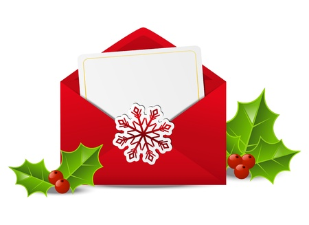 christmas mail: Christmas mail with holly berry Illustration
