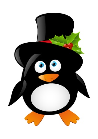 Cute penguin isolated on white Vector