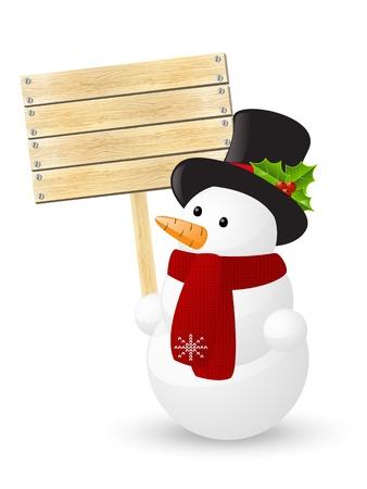 Muñeco de nieve lindo con la placa de madera Ilustración de vector