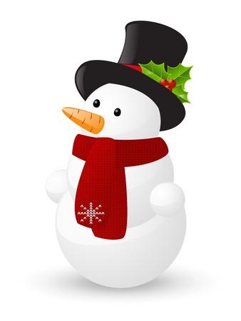 bonhomme de neige: Bonhomme de neige mignon isolé sur blanc