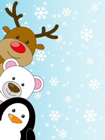Cute animals on winter background Vector