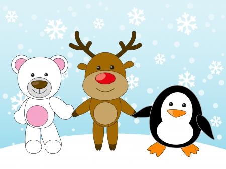 Bear, deer and penguin holding hands Vector
