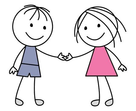 Fille et gar�on sur fond blanc Illustration