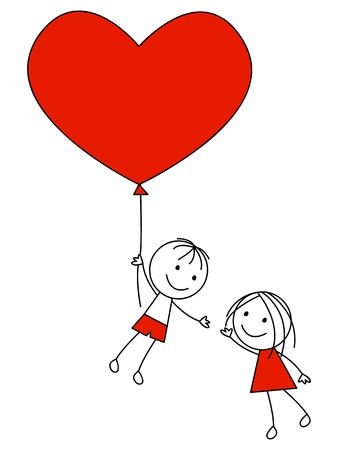 young couple: Cute couple with heart balloon Illustration