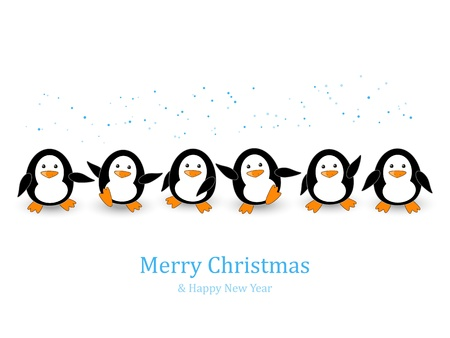 cartoon new: Christmas card with cute penguins