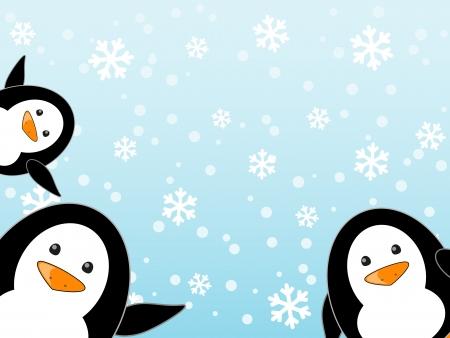 южный: Пингвин семья на зимнем фоне Иллюстрация