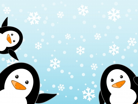 Penguin family on winter background