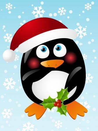 Funny penguin stripper in santa hat Stock Vector - 16703624