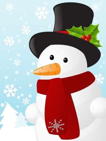 text free space: Christmas card with cute snowman