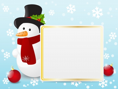 Cute snowman with empty banner Vector