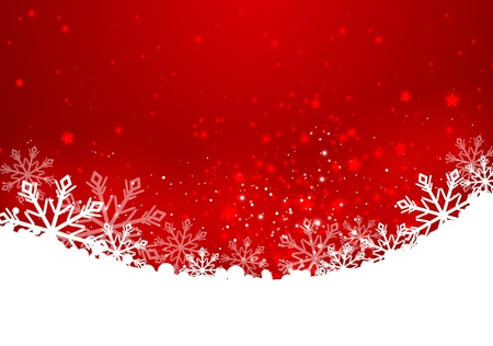 snowflake background: Christmas red background with snowflakes