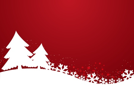 snowflake border: Christmas background with trees and snowflakes Stock Photo