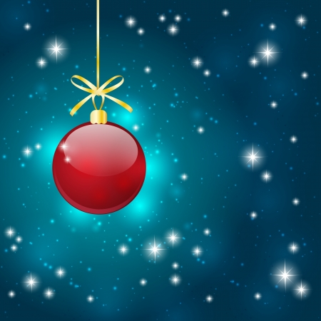 Christmas starry background with red ball photo