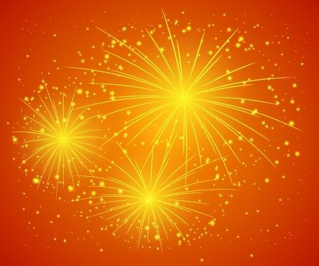 Orange starry firework - vector illustration illustration