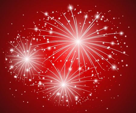 fireworks background: Red starry firework - vector illustration