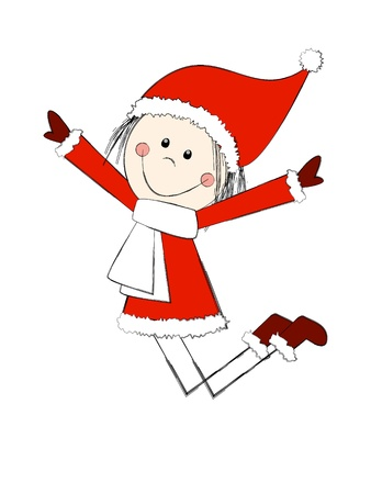 Funny Christmas girl is jumping photo