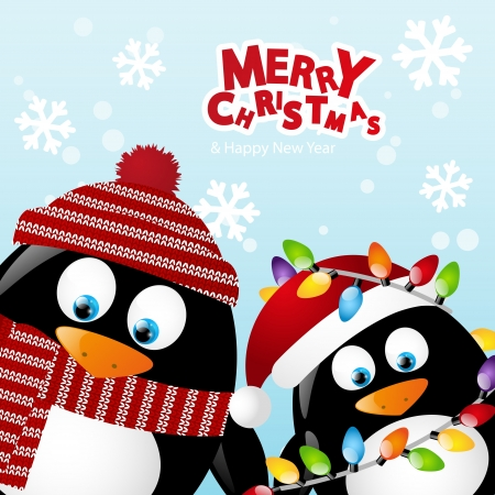 Merry Christmas card with two penguins