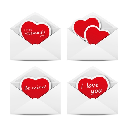 Set of mail with heart cards Stock Vector - 17384436