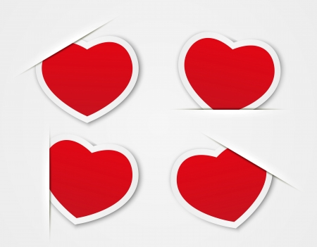 Set of red paper hearts Stock Vector - 17384433