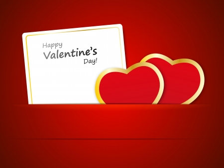 Red paper hearts with banner Stock Vector - 17384432