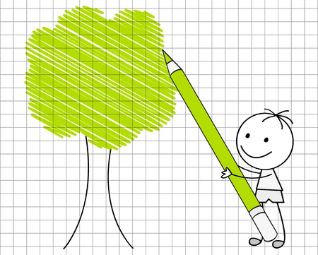 Doodle boy drawing green tree Stock Vector - 17476270
