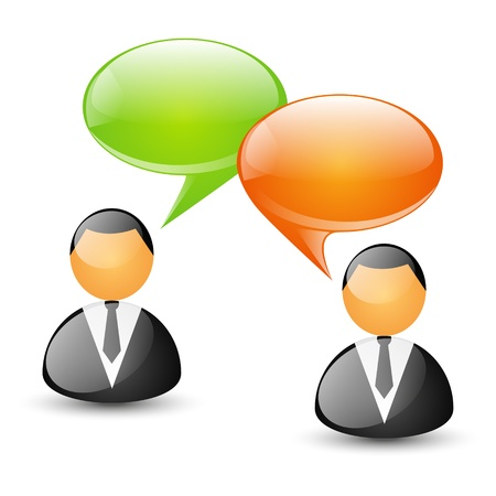 Two businessmen with speech bubbles - concept of communication Vector