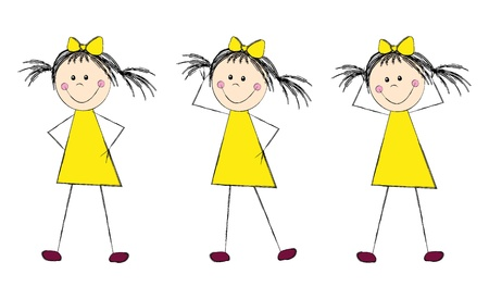 Funny girl in yellow dress Vector