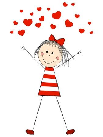 Chica divertida con corazones rojos