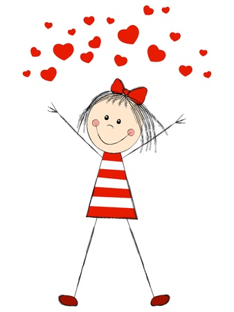 Funny girl with red hearts Illustration