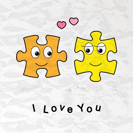 Funny Valentine card with puzzles in love Vector