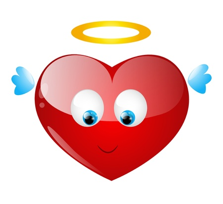 Cute heart character with angel wings Vector