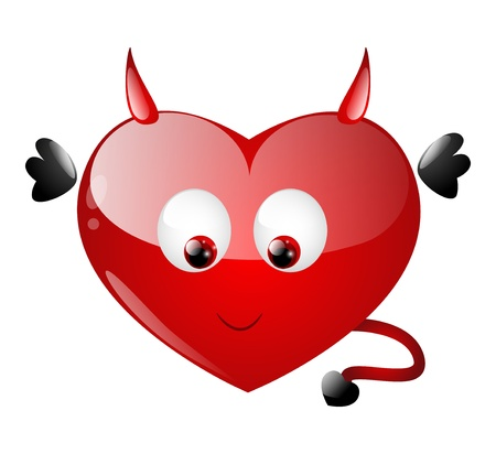 Cute heart character with daemon wings Vector