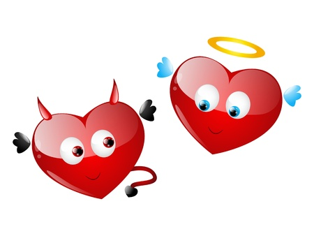 Couple of cute heart characters Stock Vector - 17565959
