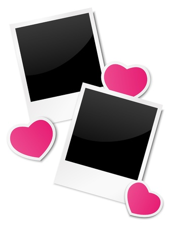 Photo frames with paper hearts Stock Vector - 17565986