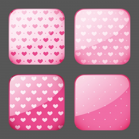 Set of pink apps icons Vector