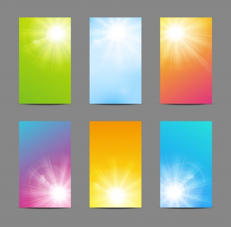 morning sunrise: Set of vector banners
