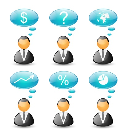 Set of glossy business icons Stock Photo - 17740395