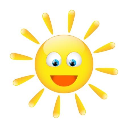 sol caricatura: Car�cter soleado bonita, aislada en blanco Foto de archivo