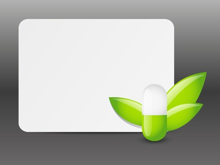 pharmaceutical industry: Green pill with empty banner