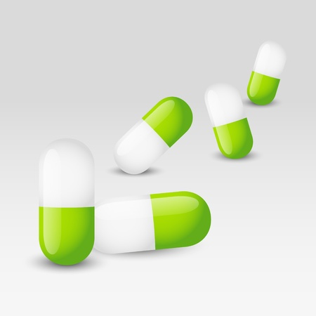 pharmaceutical industry: Medical background with green pills Illustration
