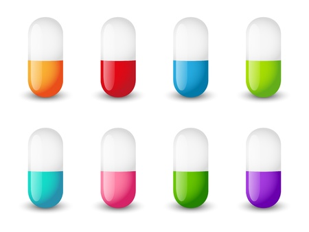 pharmacology: Set of color pill icons
