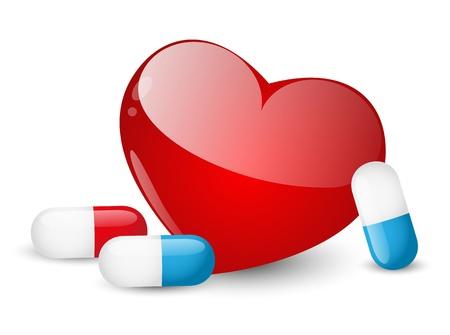 pharmacy pills: Pills for heart on white background