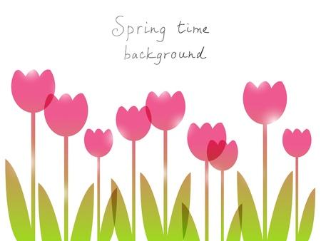 tulipan: Wiosną tła z miejsca na tekst Ilustracja