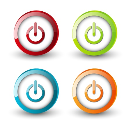 Set of glossy power button Stock Vector - 17955209